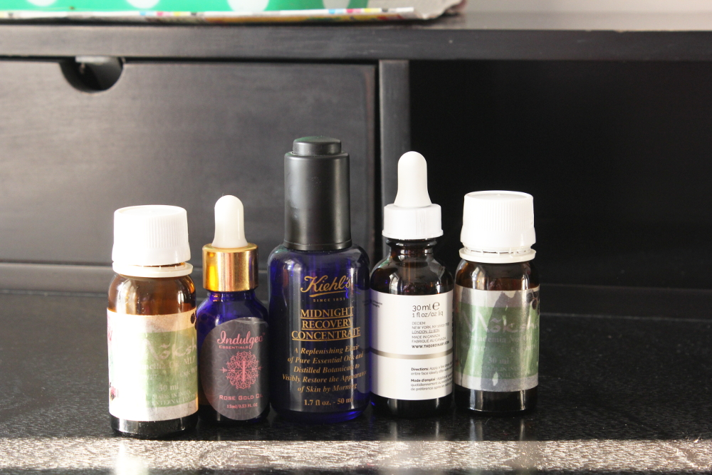 facial oils, indulgeo rosé oil, the usual squalene oil, kiehl midnight reconstitution concentrate, camellia oil, macadamia nut oil