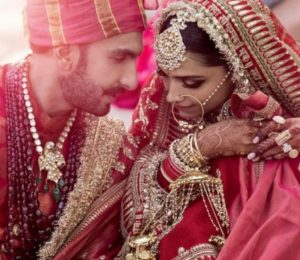 The newlyweds in Sabyasachi