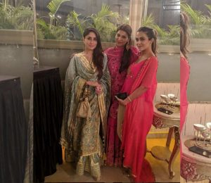 Kareena Kapoor Khan strikes it in her traditional wear as she poses with BFF's Poonam Damania and Amrita Arora