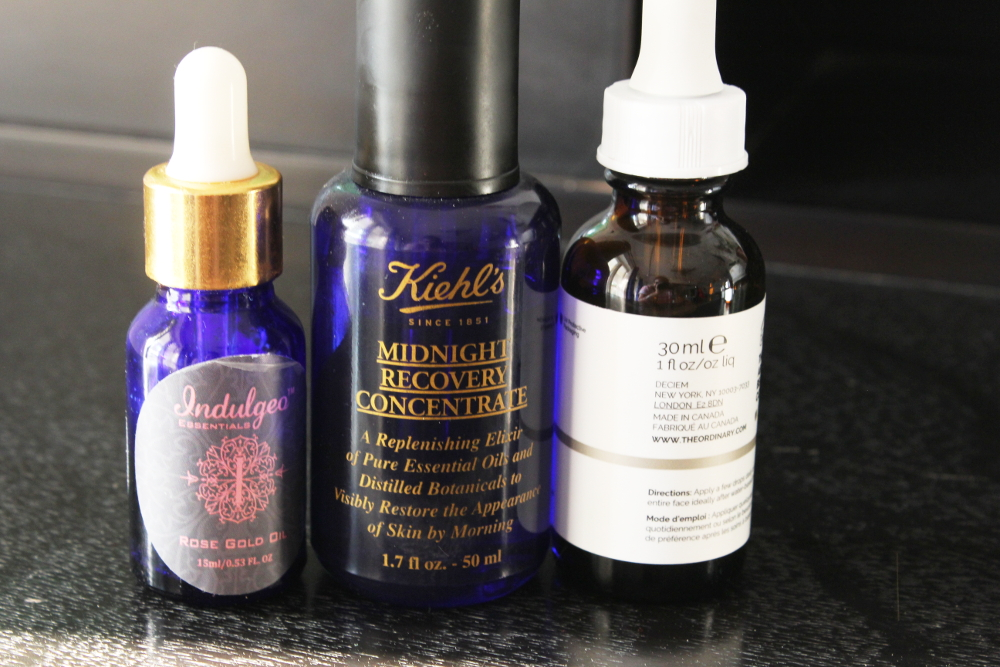 facial oils, indulgeo rose oil, the usual squalene oil, kiehl midnight recovery concentrate