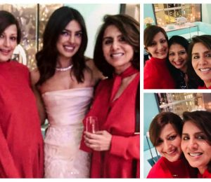 Sonali Bendre and Neetu Kapoor twin in red on Priyanka Chopra's breach shower