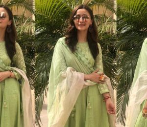 Alia Bhatt looks good in a Devnaagri Green Suit