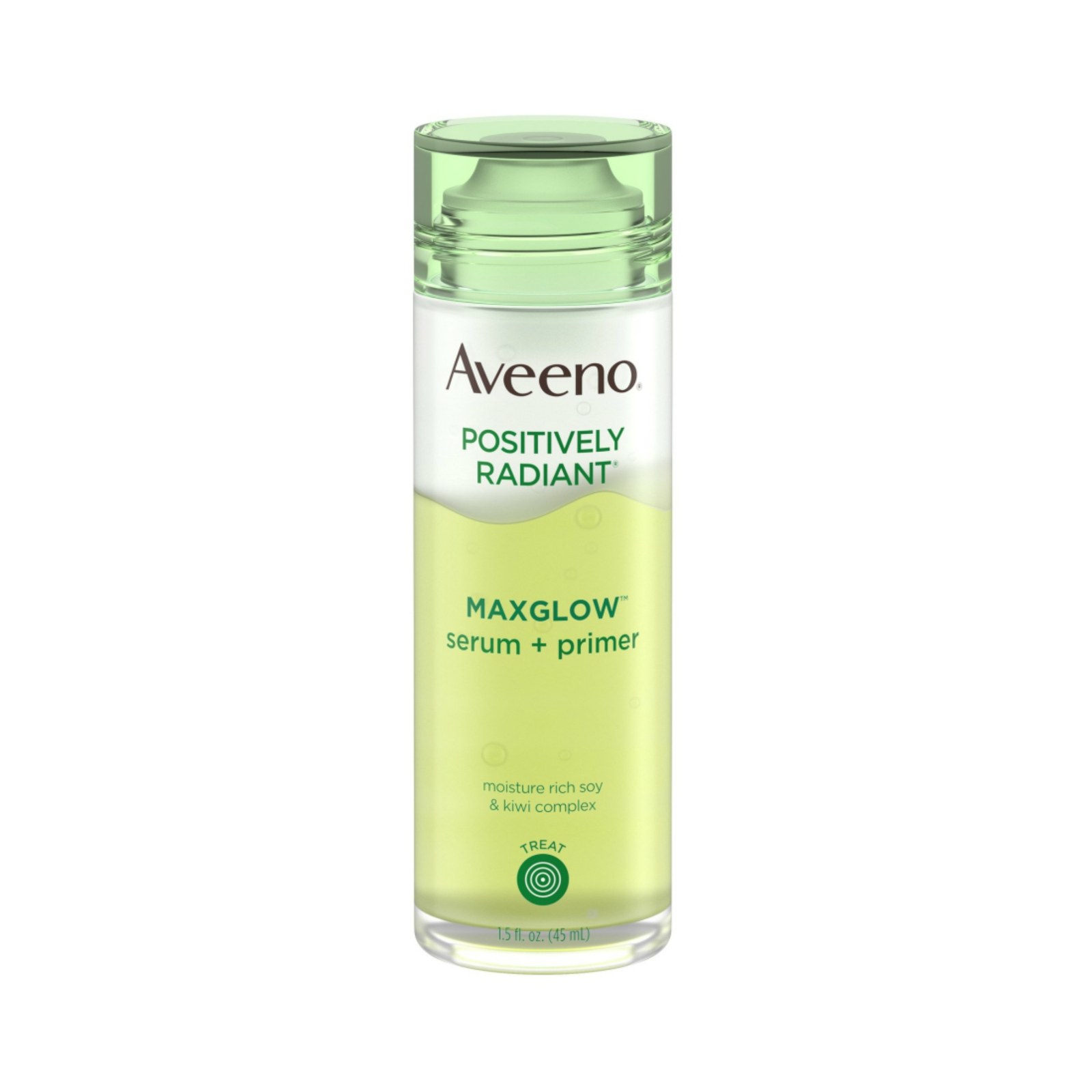 Best serum for every skin Type of 2019 Light green bottle Aveeno Maxglow Serum and Primer on white background