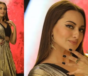 Sonakshi Sinha looks fantastic in an Amit Aggarwal suit