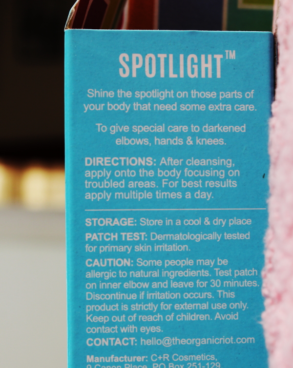 Organic Riot Spotlight Cream for elbows, hands and knees