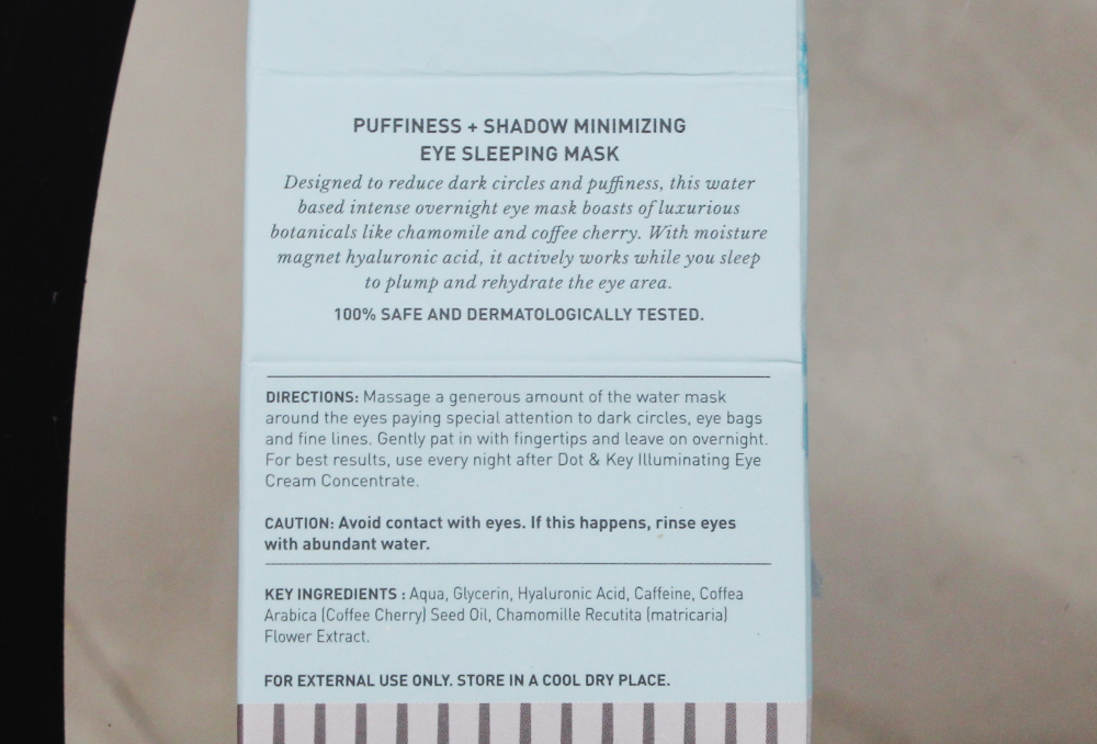 Dot & Key Hydration Range - Eye Sleeping Mask Product overview
