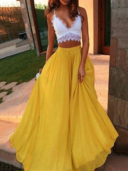 Two parts long yellow dress