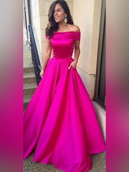 Long satin ball gowns for dress with pockets